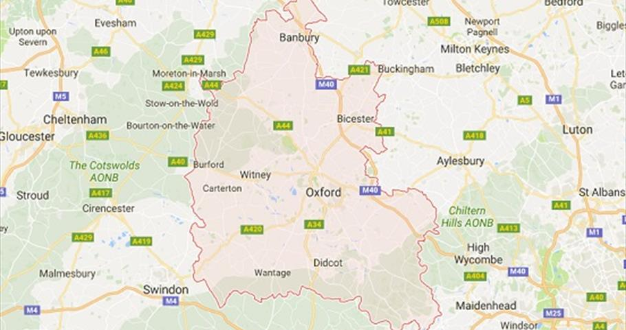 Map of Oxfordshire  South East England