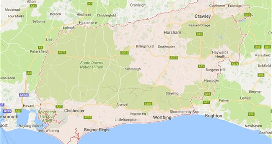 Map of Sussex  South East England