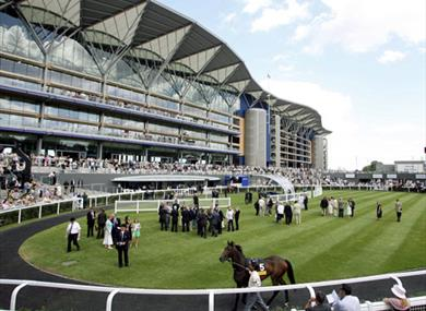 Image of the grandstand at Ascot Racecourse