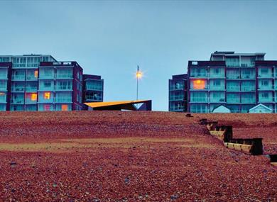 Bexhill beach pictured on Keane's Strangeland album