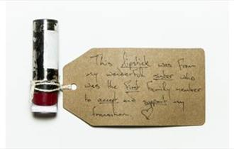 lipstick with message saying 'This lipstick was from my wonderful sister who was the first family member to accept and support my transition'
