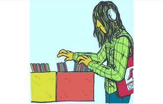 cartoon of man wearing headphones and looking through box of LP's