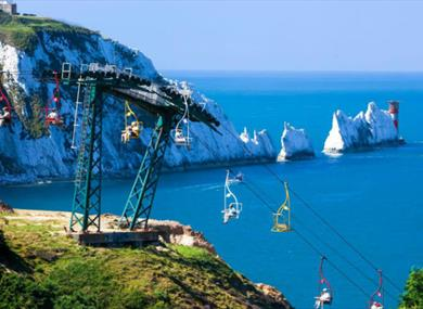Chairlift and view of The Needles at The Needles Landmark Attraction, Alum Bay, Isle of Wight, Things to Do
